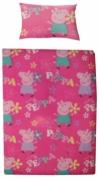 Peppa Pig Adorable 4pc Bundle Rotary Junior Cot Bed Duvet Quilt Cover Set