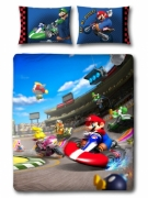 Nintendo Super Mario Kart 'Race' Reversible Panel Double Bed Duvet Quilt Cover Set