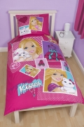 Barbie 'Sequin' Reversible Panel Single Bed Duvet Quilt Cover Set