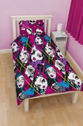 Monster High 'Skulette' Reversible Rotary Single Bed Duvet Quilt Cover Set