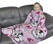 Disney Minnie Mouse Cafe Cosy Wrap Blanket Sleeved Fleece