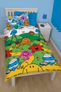 Mr Men and Little Miss Village Rotary Single Bed Duvet Quilt Cover Set