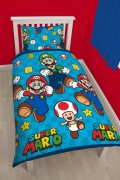 Super Mario Nintendo 'Games' Rotary Single Bed Duvet Quilt Cover Set