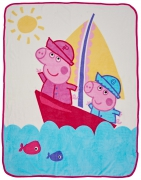 Peppa Pig 'Nautical' Coral Panel Fleece Blanket Throw