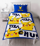 Pokemon Go Pikachu 'Action' Panel Single Bed Duvet Quilt Cover Set
