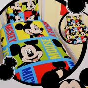 Disney Mickey Mouse Bright Rotary Single Bed Duvet Quilt Cover Set