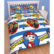 Paw Patrol 'Pawsome' Reversible Rotary Double Bed Duvet Quilt Cover Set