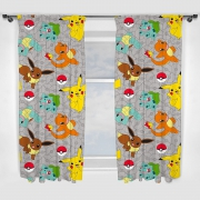 Pokemon 'Catch' Pencil Pleat 66 X 72 inch Drop Curtain Pair
