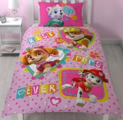Paw Patrol 'Forever' Pretty Reversible Panel Single Bed Duvet Quilt Cover Set