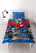 Justice League 'Inception' Reversible Rotary Single Bed Duvet Quilt Cover Set