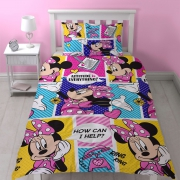Disney Minnie Mouse 'Attitude' Reversible Rotary Single Bed Duvet Quilt Cover Set