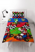 Mario Kart 'Champs' Reversible Rotary Single Bed Duvet Quilt Cover Set