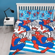 Spiderman 'Popart' Reversible Rotary Double Bed Duvet Quilt Cover Set