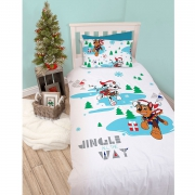 Paw Patrol Dash Christmas Panel Single Bed Duvet Quilt Cover Set