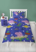 Peppa Pig George 'Planets' Reversible Rotary Single Bed Duvet Quilt Cover Set