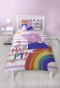 Peppa Pig Friends 'Hooray' Panel Single Bed Duvet Quilt Cover Set