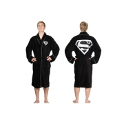 Superman Black One Size Bathrobe
