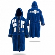 Doctor Who Tardis 'Public Call Box' Blue Adult with Hood One Size Bathrobe