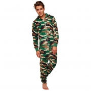 Camouflage Printed Hooded Men Large Jumpsuit