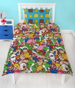 Nintendo Super Mario Gang Reversible Rotary Single Bed Duvet Quilt Cover Set