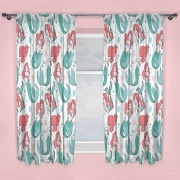 Disney Princess Ariel Little Mermaid Oceanic 66 X 54 inch Drop Curtain Pair