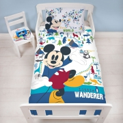 Disney Mickey Mouse Little Wanderer Panel Junior Cot Bed Duvet Quilt Cover Set