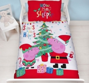 Peppa Pig Christmas Toddler Panel Junior Cot Bed Duvet Quilt Cover Set