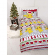 Pokemon Candy Christmas Multi Coloured Rotary Single Bed Duvet Quilt Cover Set