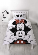 Disney Mickey & Minnie Mouse Polka Dot Reversible Two Sided Grey White Panel Single Bed Duvet Quilt