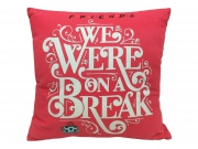 Friends on a Break Square Shaped Filled Printed Cushion
