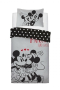 Disney Minnie and Mickey Love You To Moon Panel Single Bed Duvet Quilt Cover Set