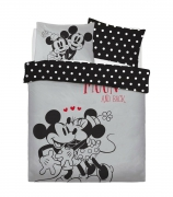 Disney Minnie and Mickey Love You To Moon Panel Double Bed Duvet Quilt Cover Set
