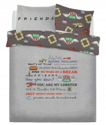 Friends Slogan Panel King Bed Duvet Quilt Cover Set