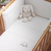 Izziwotnot White Gift Range Crib Set Coverlet Bumper