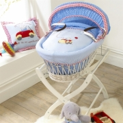 Izziwotnot Humphrey' S Little Red Car Wicker Moses Basket White