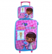 Disney Doc Mcstuffins'Need a Hug' 2 Piece Suitcase with Lunch Bag Luggage Set