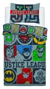 Justice League Vintage Icons Panel Single Bed Duvet Quilt Cover Set