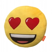 Emoji Emoticons 'Heart Eyes' Round Plush Embroidered Cushion