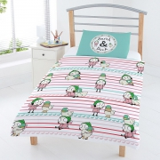 Sarah & Duck 'Red Stripe' Reversible Rotary Junior Cot Bed Duvet Quilt Cover Set