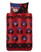 Miraculous Ladybug 'Spots' Rotary Single Bed Duvet Quilt Cover Set