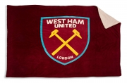 West Ham United Sherpa Claret Full Fc Football Panel Official Fleece Blanket Throw