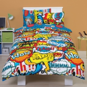 Comic 'Bang' Blue Reversible Rotary Single Bed Duvet Quilt Cover Set
