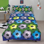 Football 'Champion' Blue Reversible Fc Rotary Single Bed Duvet Quilt Cover Set