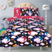 Unicorn ' Believe In Your Dreams Black Reversible Pink Rotary Single Bed Duvet Quilt Cover Set