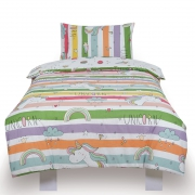 Unicorn Rainbow Kids Two Sided Design Reversible Rotary Single Bed Duvet Quilt Cover Set