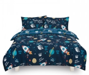 Space 'Out of This World' Kids Two Sided Design Reversible Rotary Double Bed Duvet Quilt Cover Set