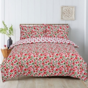 Floral Poppy Reversible Rotary Double Bed Duvet Quilt Cover Set