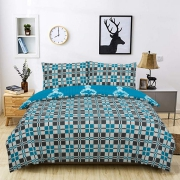 Knitted Pattern Reversible Rotary King Bed Duvet Quilt Cover Set