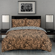 Marble Brown Reversible Rotary Double Bed Duvet Quilt Cover Set