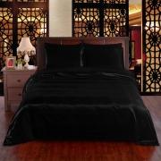 Black 6pc Satin Panel Double Bed Duvet Quilt Cover Set